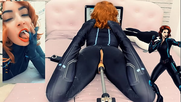 Black Widow Loves Your Cock in her Pussy – Big Toy on a Sex Machine – Cosplay Girl HD